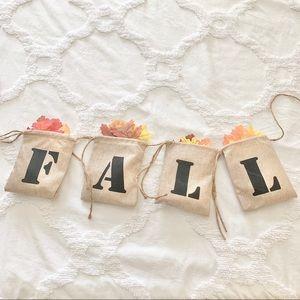 Hobby Lobby Fall Burlap Sack Banner w/ Leaves